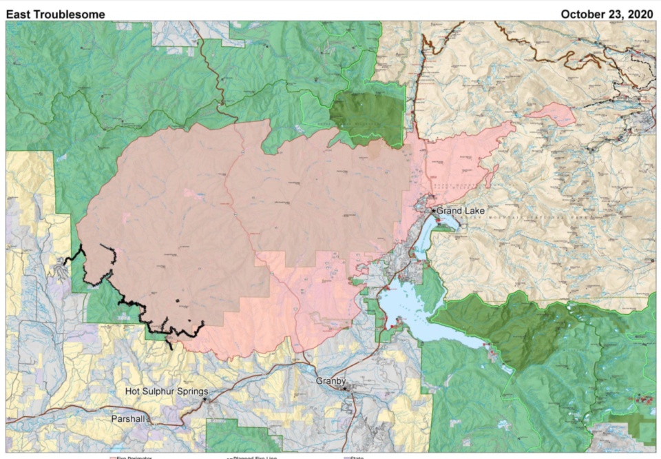East Troublesome Fire map
